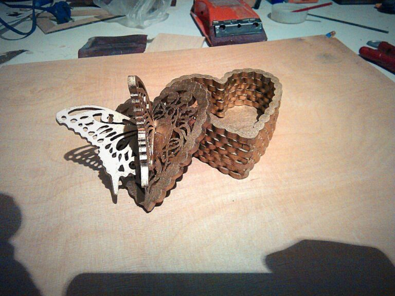 Fancy Butterfly Heart Box For Laser Cut Free DXF File