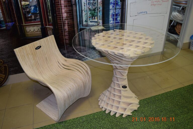 Coffee Table With Chair For Laser Cut Free CDR Vectors Art
