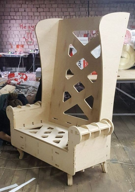 Wood Throne Chair High Back Sofa Chair Template For Laser Cut Free CDR Vectors Art