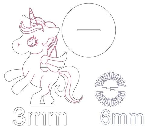 Unicorn Napkin Holder For Laser Cut Free DXF File
