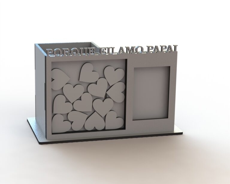 Pen Holder Organizer With Photo Frame Wish For Laser Cut Free CDR Vectors Art