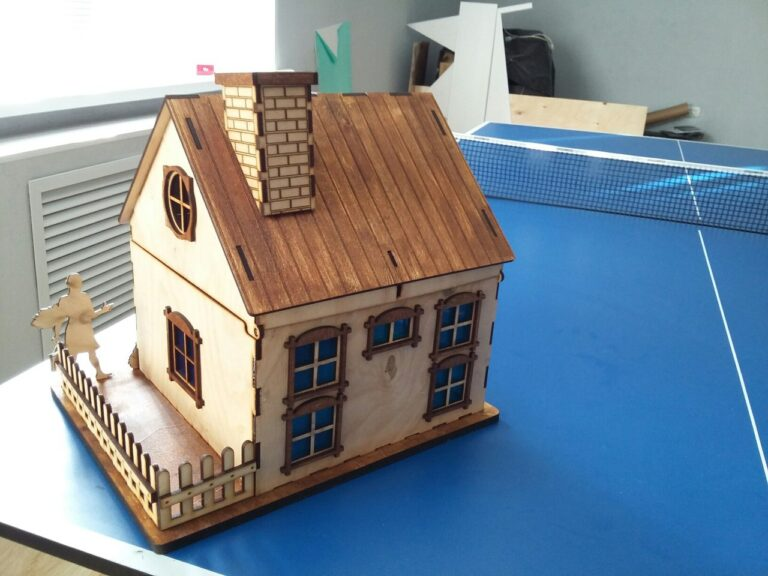 Wooden House With Chimney For Laser Cut Free DXF File