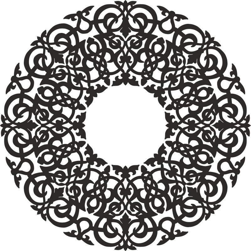 Round Abstract Floral Pattern Free CDR Vectors Art