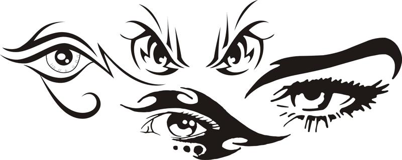 Tribal Eye Tattoo Car Stickers Free CDR Vectors Art