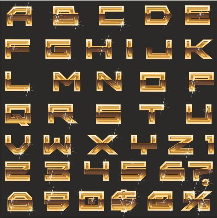 A Scandalous English Alphabet In Form Of Gold Bullion Free CDR Vectors Art