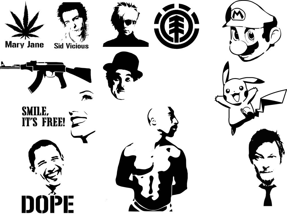 Auto Stickers Black Free CDR Vectors Art
