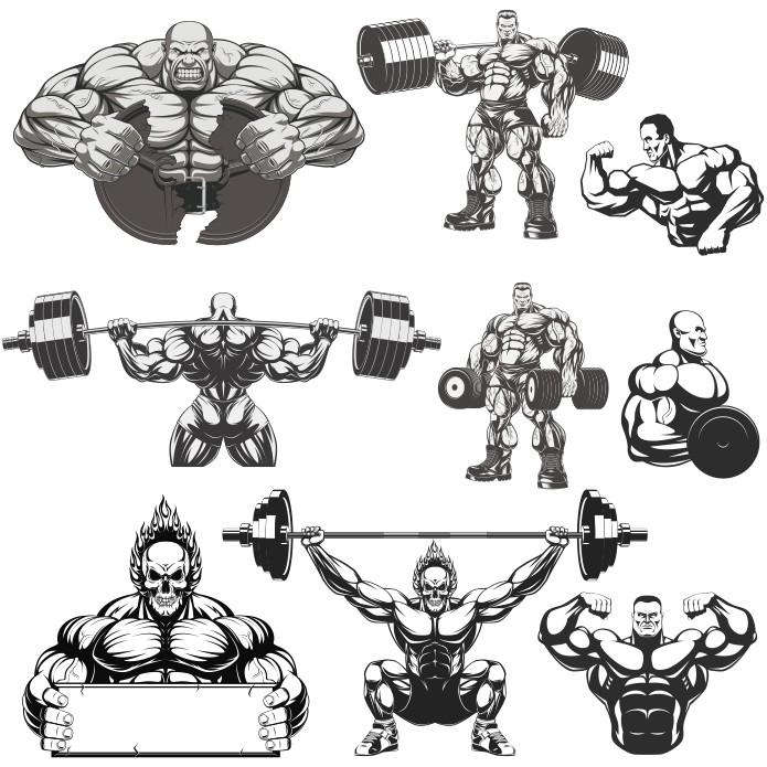 Collection Of Vector bodybuilders. Part 3 Free CDR Vectors Art