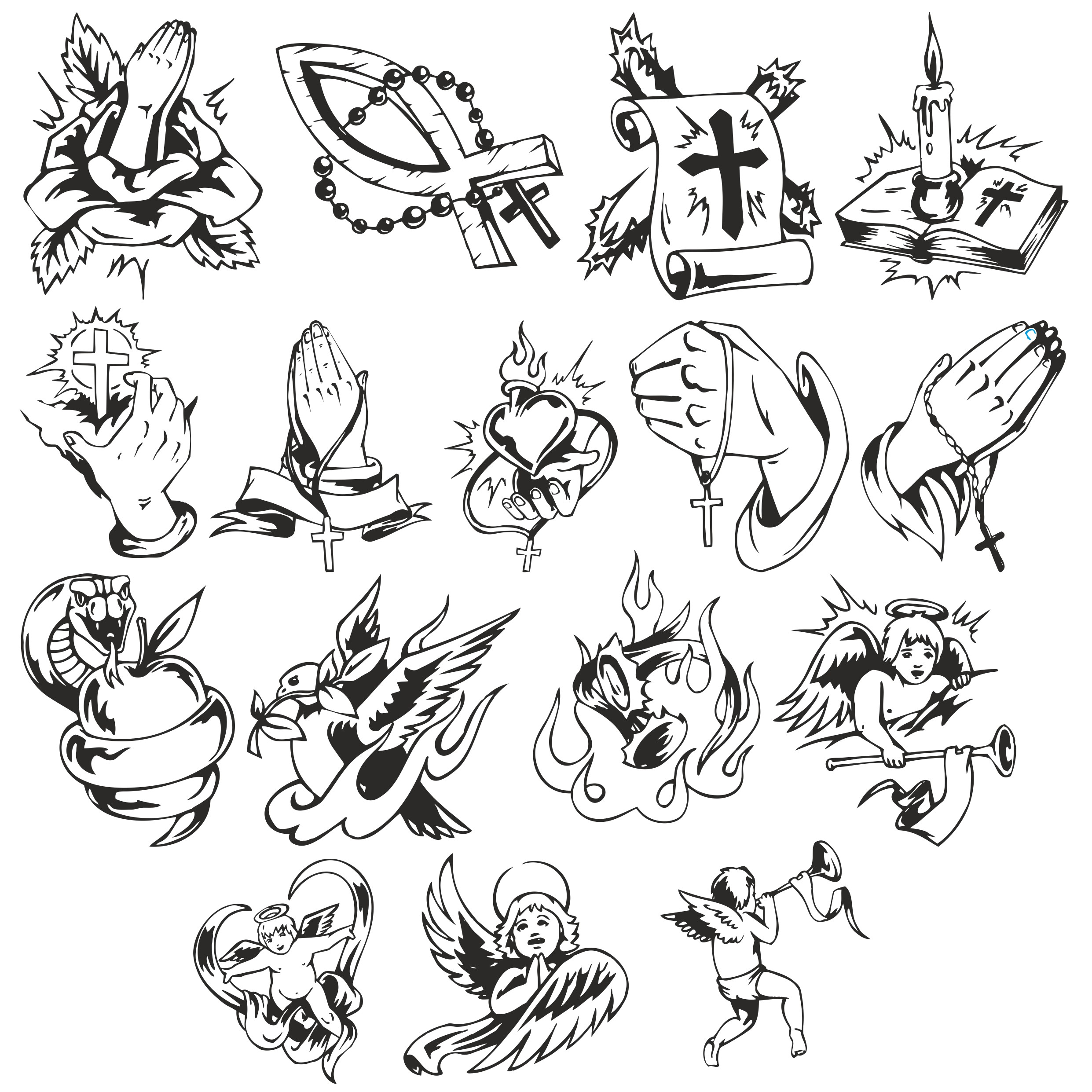 Collection Of Vector Templates For Religious Tattoos Free CDR Vectors Art
