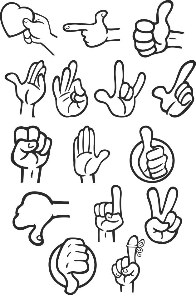 Different Gestures Of Hands Free CDR Vectors Art