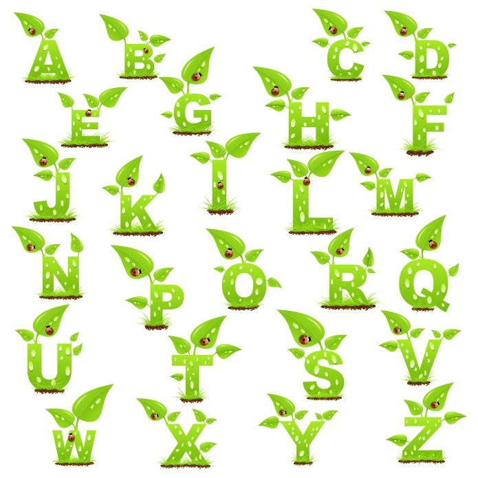English Alphabet In The Form Of Plants Free CDR Vectors Art