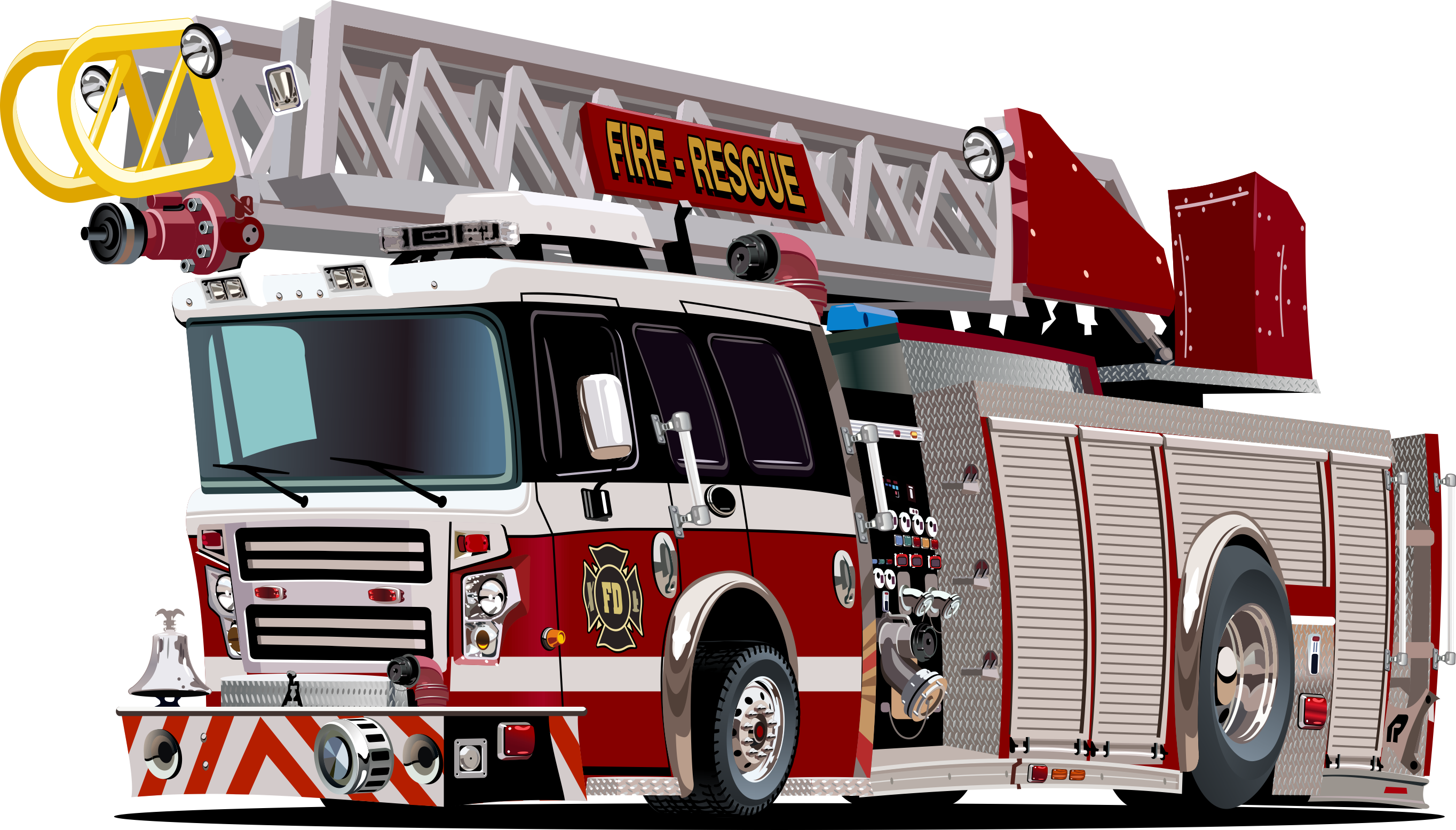 Fire Rescue Vehicle with Ladder Free CDR Vectors Art