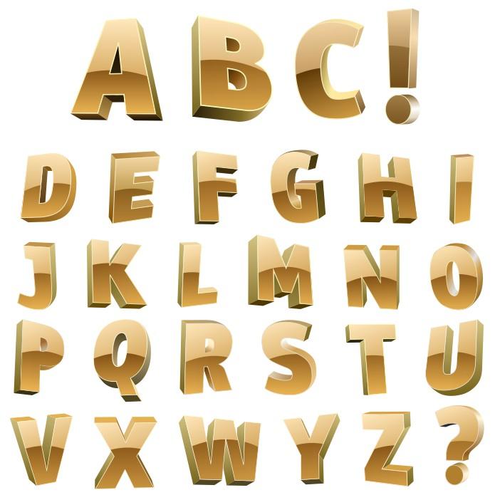 Beautiful Golden Letters Of The Alphabet Free CDR Vectors Art