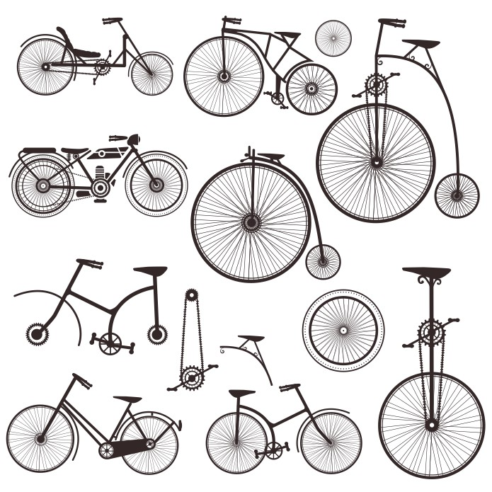 Silhouettes Of Retro Bicycles Free CDR Vectors Art