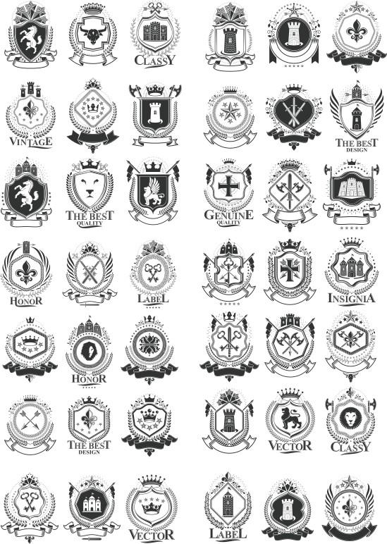 Collection Of Heraldry Free CDR Vectors Art