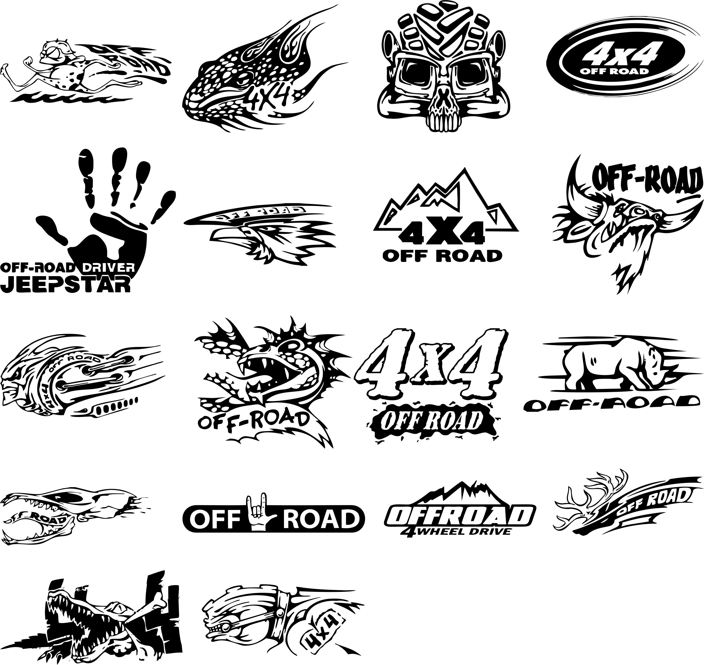Layouts Of Stickers On An off-road Car Free CDR Vectors Art