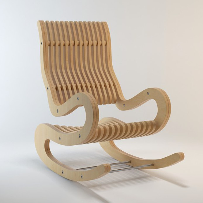 Drawing For Cnc Machine Tools Arm Rocking Chair From Plywood Free CDR Vectors Art