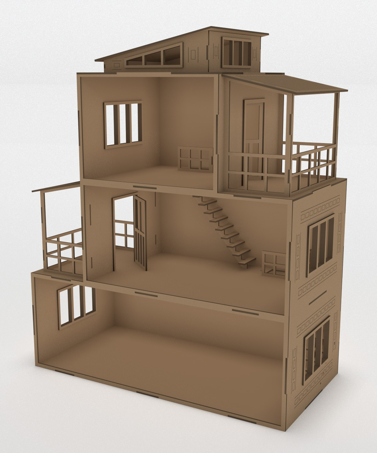 Drawing of a wooden dollhouse Free CDR Vectors Art