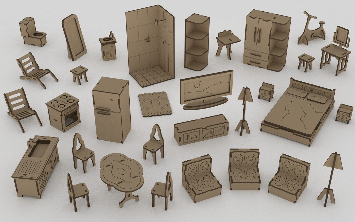 Drawing Of Dollhouse Furniture Layout Free CDR Vectors Art