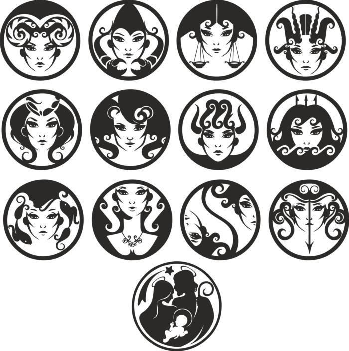 Zodiac Signs Female Faces Free CDR Vectors Art