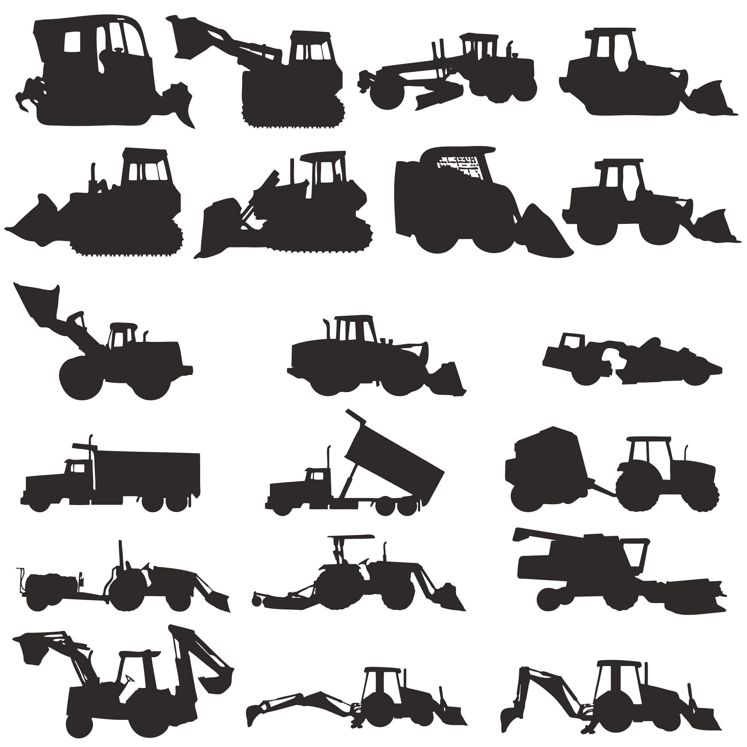 Silhouettes Of Construction Machinery Free CDR Vectors Art