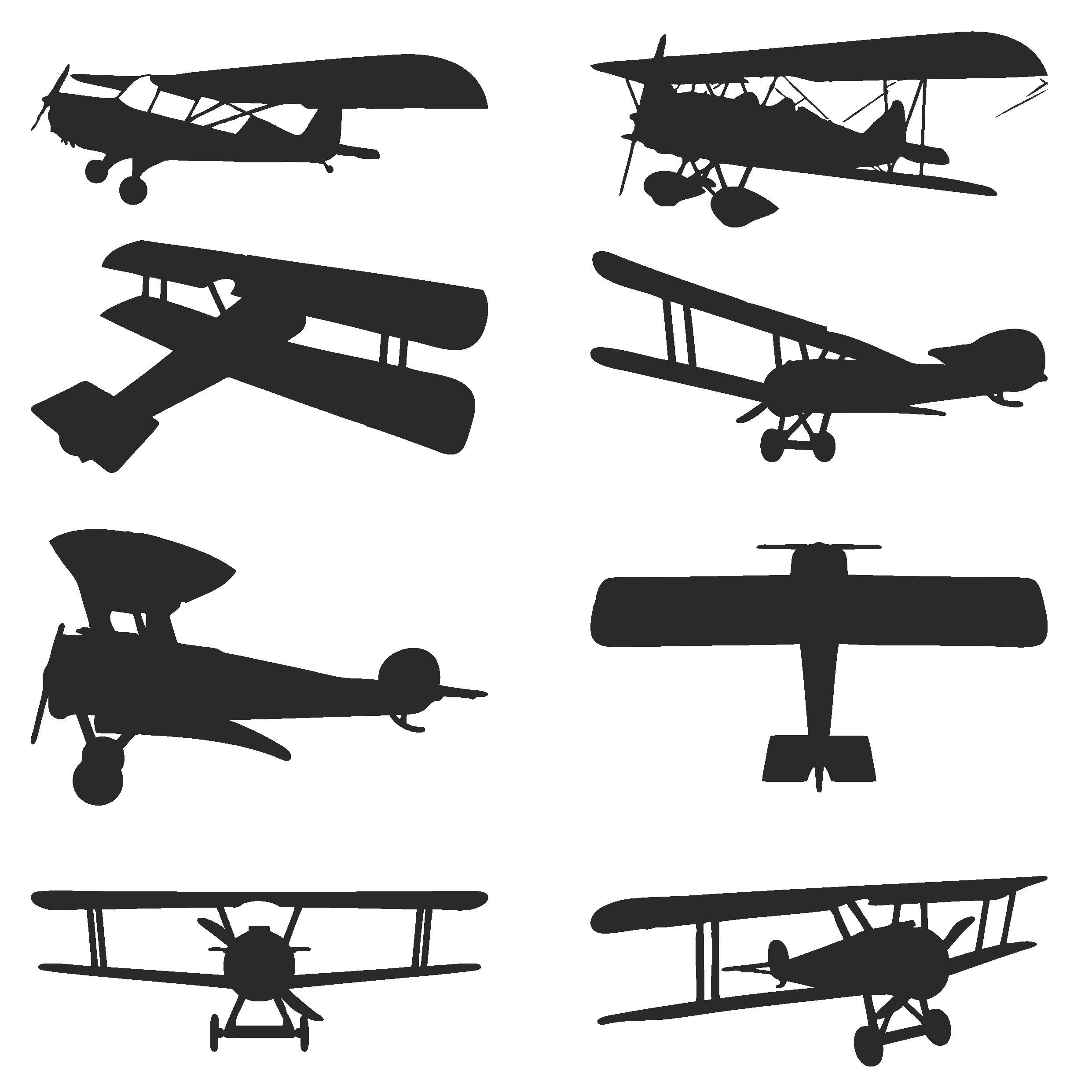 Vector Silhouettes Of Biplanes Free CDR Vectors Art