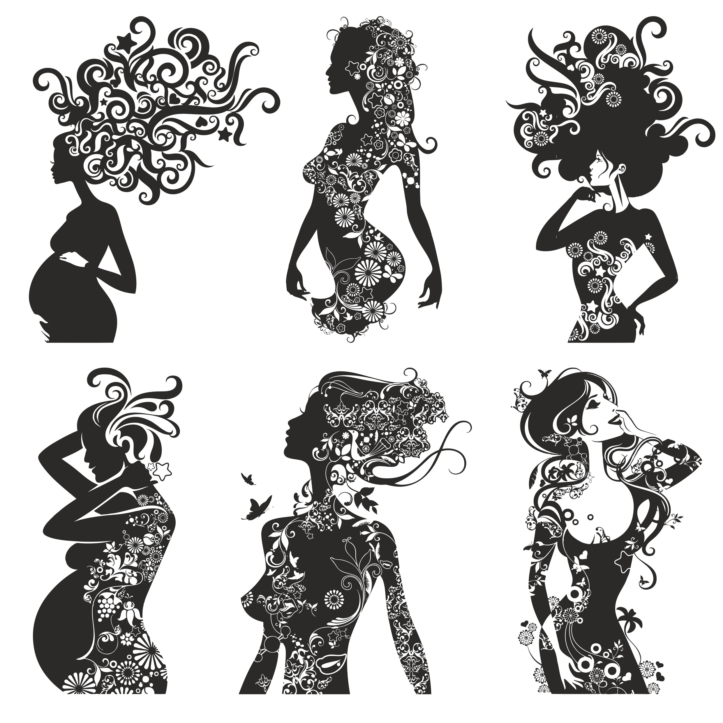 Vintage Girls Silhouettes With Patterns Free CDR Vectors Art