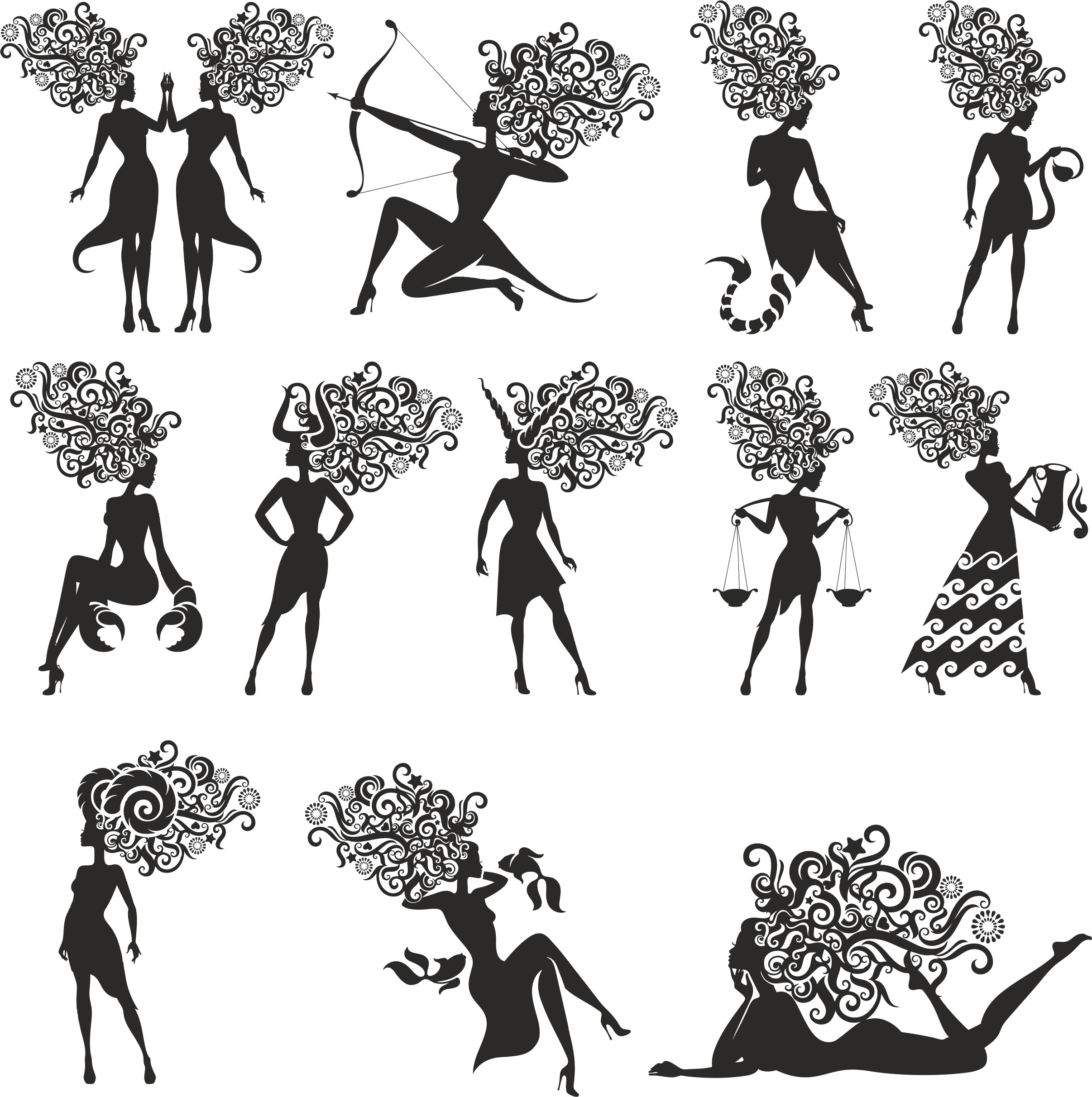 Zodiac Signs In The Form Of Silhouettes Of Women Free CDR Vectors Art
