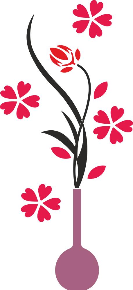 Flower Vase Wall Decals Free CDR Vectors Art