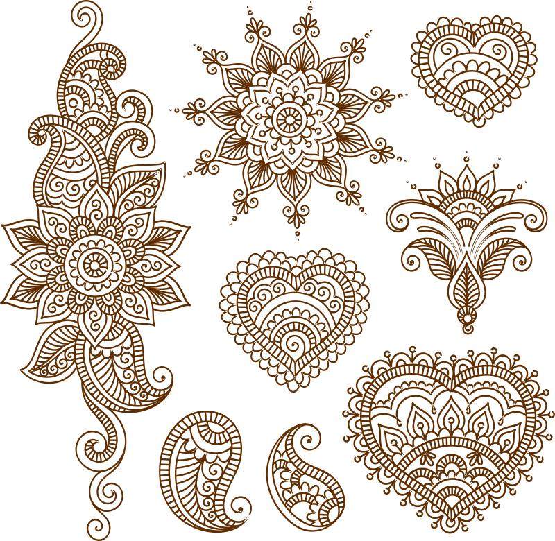 Henna Tattoo Flower Template Free CDR Vectors Art