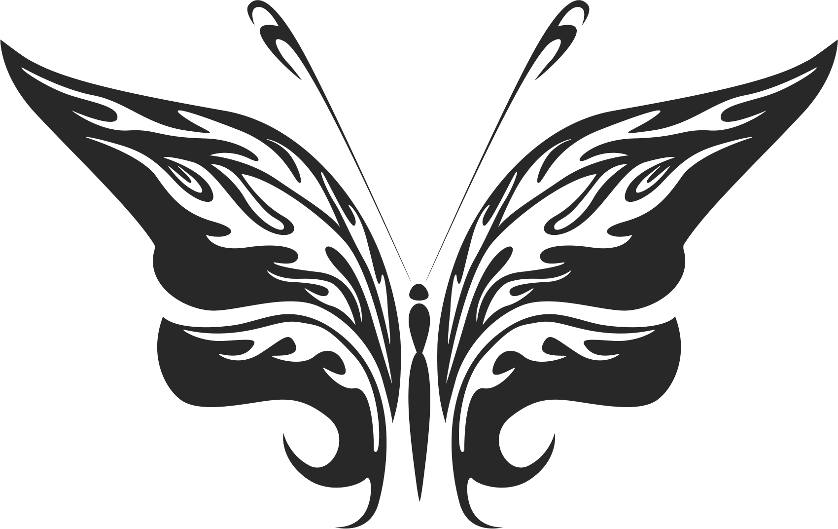 Butterfly Silhouette Sticker Free CDR Vectors Art