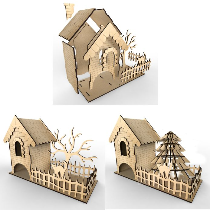 Tea House With Woodland Vector Layout For Laser Cutting Plywood Free CDR Vectors Art