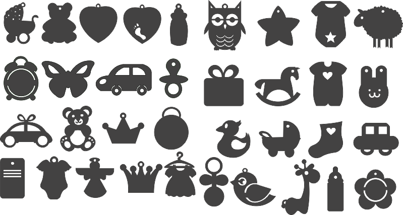 Set Black Silhouettes of Children toys Free CDR Vectors Art