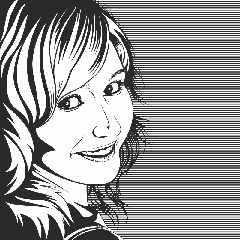 Vector Drawing of Woman Black and White Free CDR Vectors Art