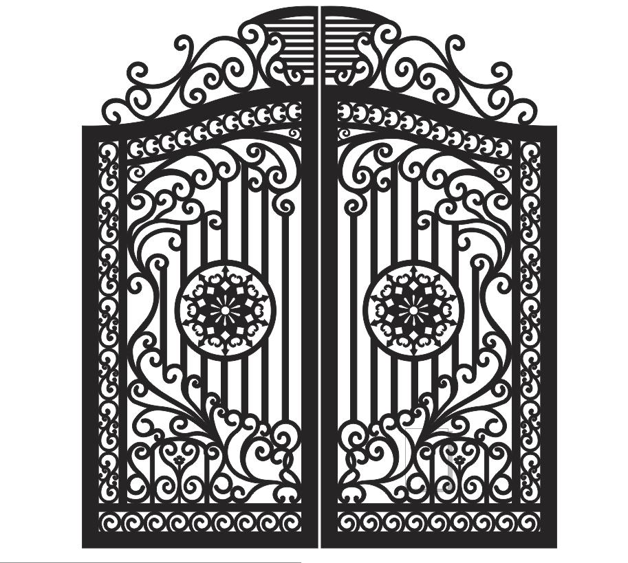 Plasma Cut Gate Design Free CDR Vectors Art