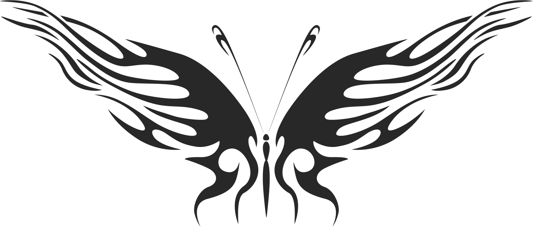 Butterfly Silhouette Tattoo Free CDR Vectors Art