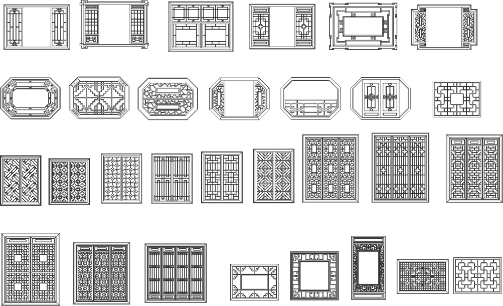 Chinese window patterns Free CDR Vectors Art