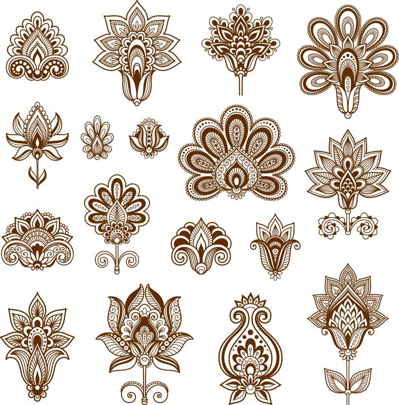 Henna Set of ornamental stylized flower Free CDR Vectors Art