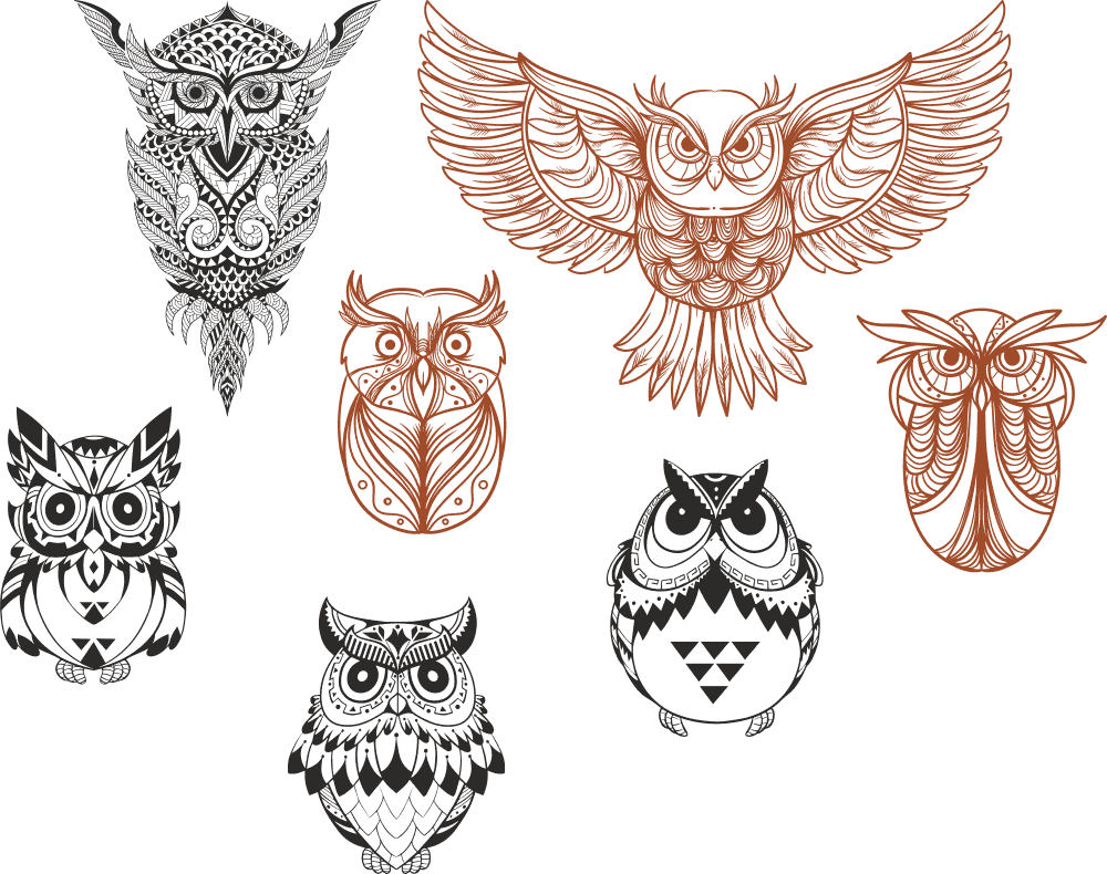 Owl designs collection Free CDR Vectors Art