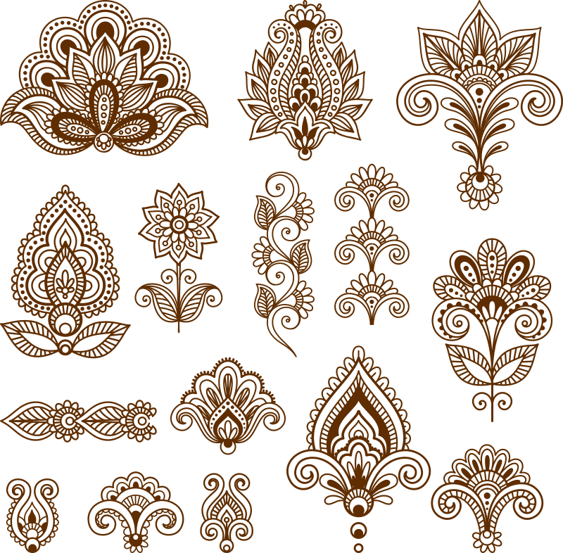 Mehndi design collection Free CDR Vectors Art