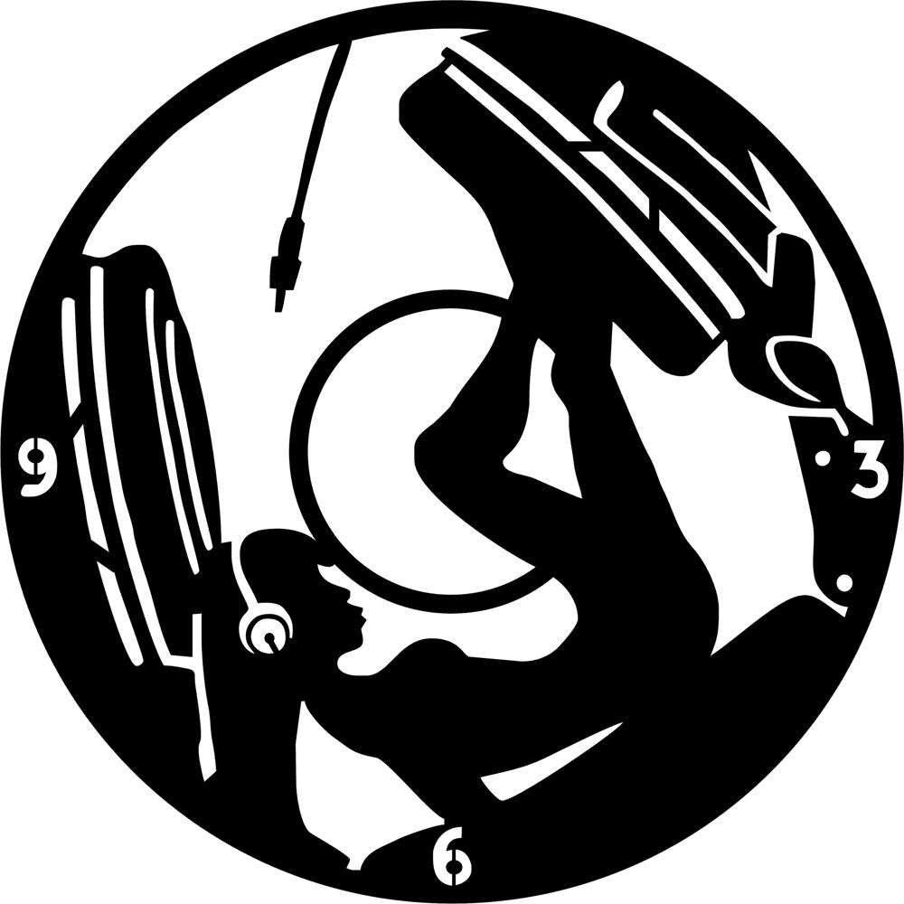 Girl DJ Music Headphones Clock Vinyl Free CDR Vectors Art