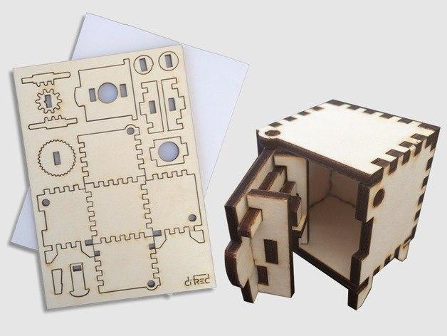 mini-seyf Wooden Box Free CDR Vectors Art