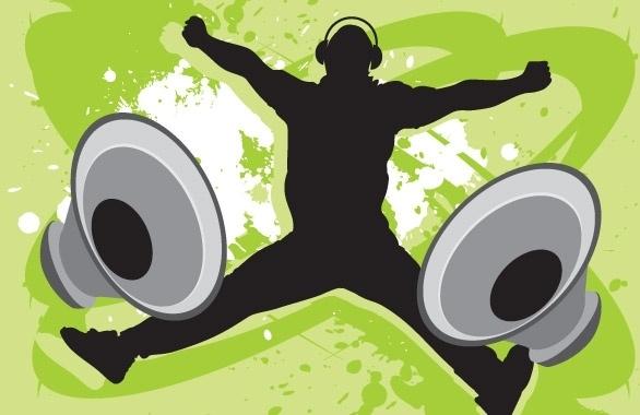 Music Guy with Speakers Free CDR Vectors Art