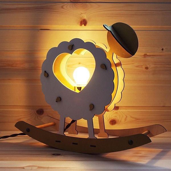 Barashek Wooden Heart Shape Lamp Free CDR Vectors Art