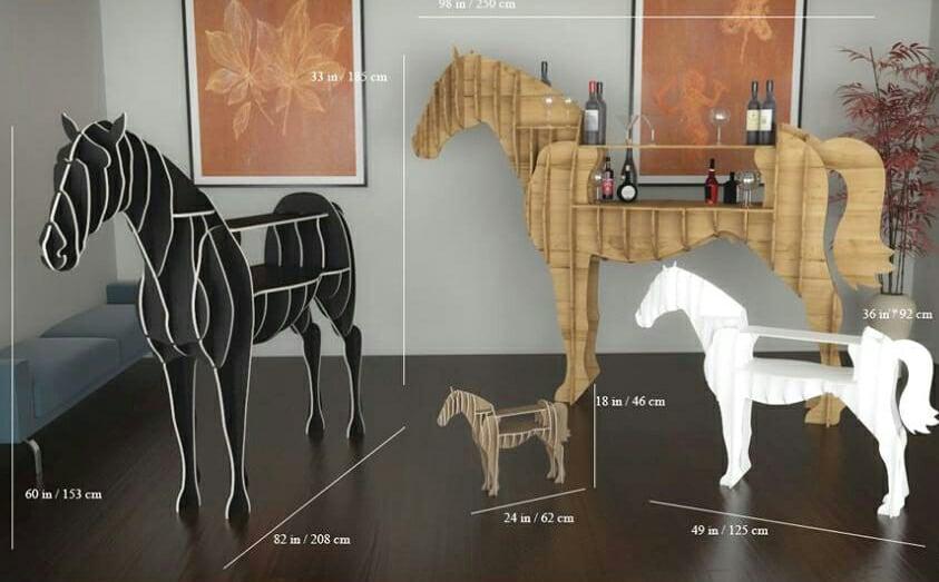 Wooden Horse Shelf kon-polka Free CDR Vectors Art