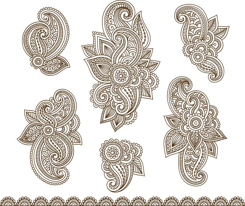 Set Mehndi Flower Pattern Henna Drawing Free CDR Vectors Art