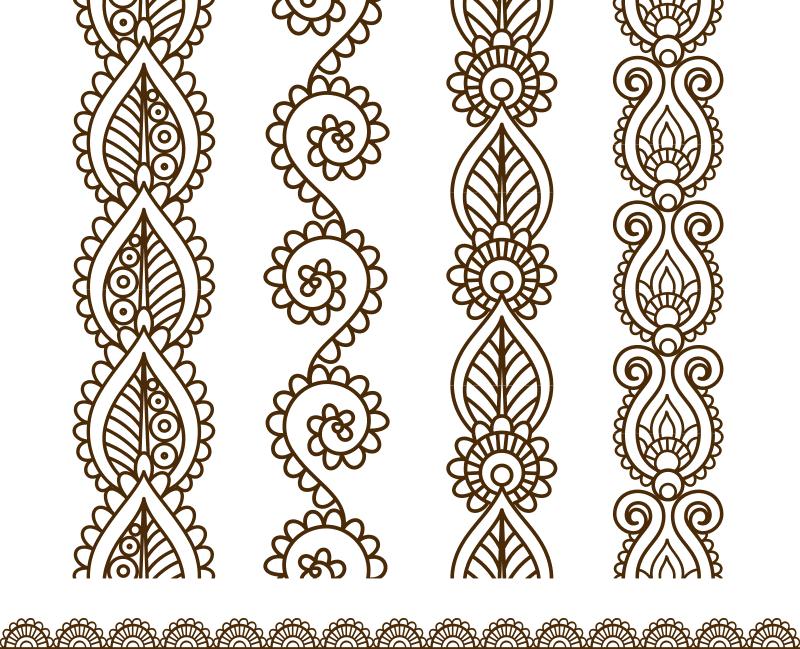 Mehndi style ornamental border Free CDR Vectors Art