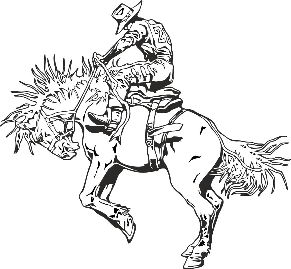 Rodeo rider western cowboy line art Free CDR Vectors Art
