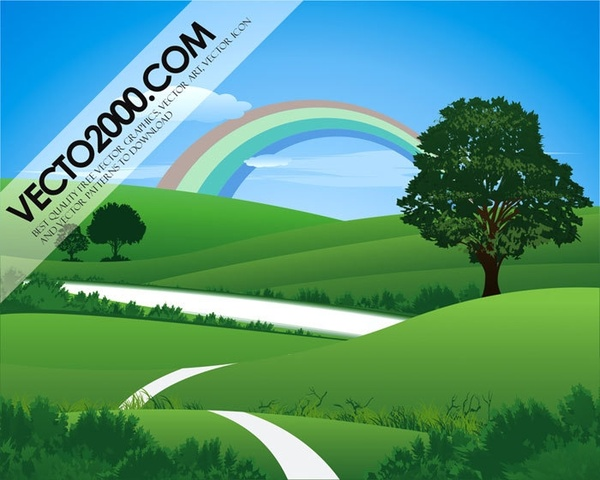 Fresh green landscape with rainbow Free CDR Vectors Art