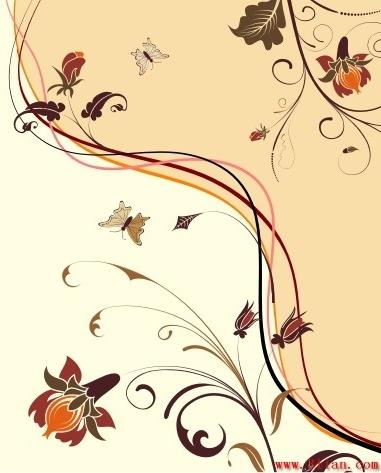 Decorative Background Natural Flowers Theme Classical Design Free CDR Vectors Art