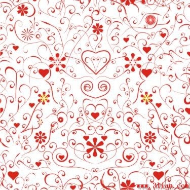 Romance Background Hearts Flowers Icons Red Curves Ornament Free CDR Vectors Art